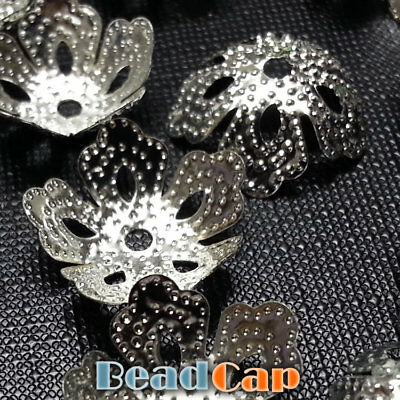 100 Silver Plated Flower Bead Cap 14mm
