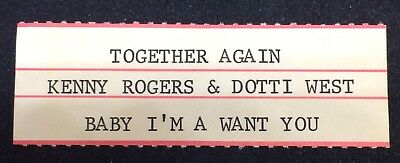 "KENNY ROGERS & DOTTIE WEST: Together Again - Jukebox Title Strip for 7"" 45RPM"
