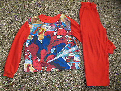 Cute Boy's Red SPIDERMAN Pajamas Top & Pants Set By MARVEL Size 6/7 WARM & COZY!
