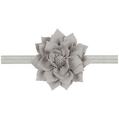 Baby Girls Rhinestone Lotus Flower Bow Headband No Clip Hair band Lot gray