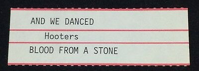 "HOOTERS: And We Danced / Blood From A Stone - Jukebox Title Strip for 7"" 45RPM"