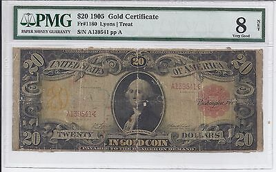 1905 $20 Gold Certificate PMG Very Good - Net TECHNICOLOR