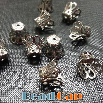 20 Nickle Silver Tone Flower Bead Caps 7mm x 10mm