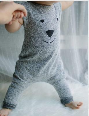 Infant toddler baby romper sleeveness jumpsuit cotton cartoon bear print clothes
