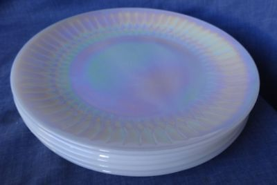 Desert Plates Retro Vintage Federal Glass MOONGLOW Iridescent Pearl Lustre