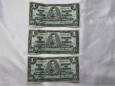 (3) 1937 $1 One Dollar Bank of Canada Bill Note Currency King George VI | 8271