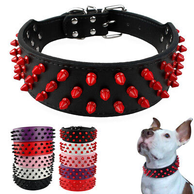 "2"" Wide Cool Spiked Studded PU Leather Dog Collars for Medium Large Dog Pit Bull"