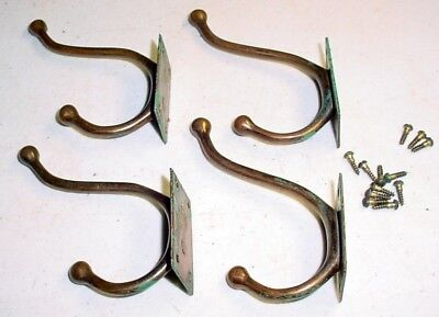 Set of 4  ANTIQUE BRASS COAT HOOKS Farm House, Country School 2-Prong, w/ Bends