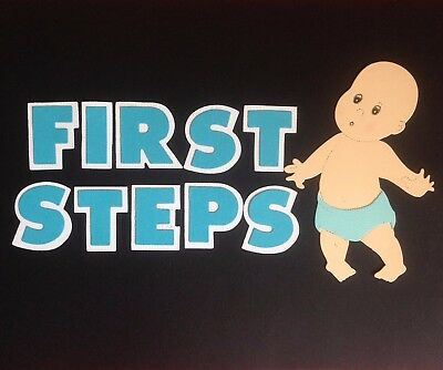 "Handcrafted Baby Boy With ""first Steps"" Letters Die Cuts  - Scrapbooking"