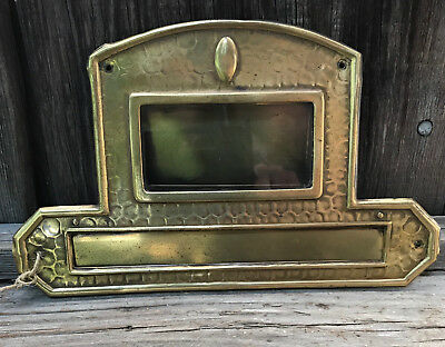 Vintage Solid Brass Antique Mail Letter Slot - Poland-Europe, Glass Name Plate