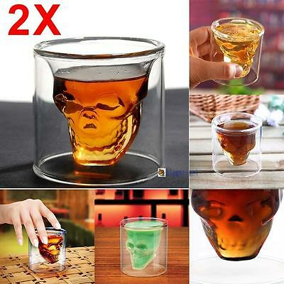 2X Crystal Skull Head Glass Cup Beer Vodka Cocktail Wine Drinkware Party Hot AC