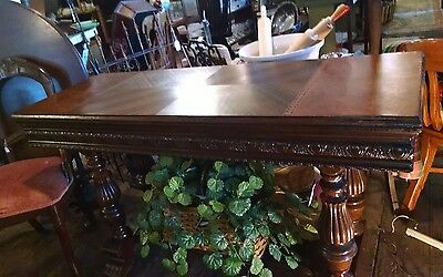 Renaissance Revival Hand Carved Oak Drawleaf Refractory Table