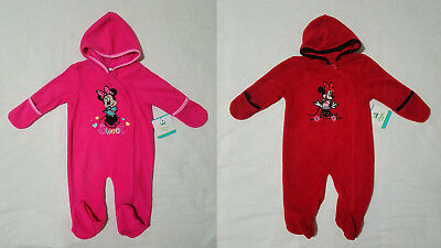 a82e57524 NWT Disney Baby Minnie Mouse Fleece Hooded Footed Bunting Sleeper 0-3M to 6-