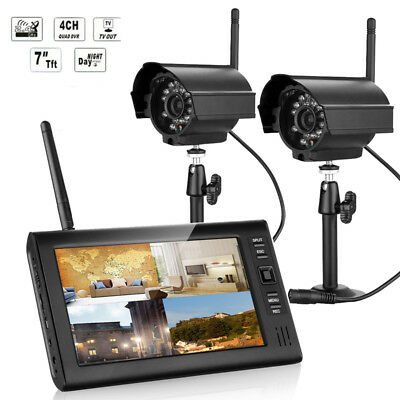 "2.4GHz 7"" LCD Monitor IR Night Vision DVR Wireless Security System CCTV Camera"