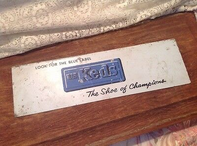 """Vintage Metal """"U.S. Keds The Shoe Of Champions"""" Advertising Sign"""