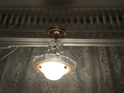 Antique Art Deco Vintage Glass Shade Chandelier Light Fixture Crystals