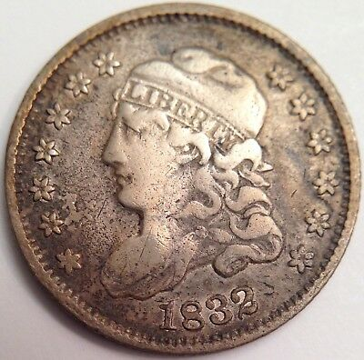 1832 Capped Bust Half Dime ~ Great Devices, Very Attractive Coin ~ Free Shipping