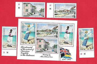 "1983 Bahamas "" American Loyalists "" Mini Sheet & Set Of 4  Mint Un Hinged"