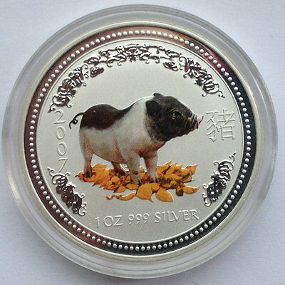 2007 Australia $1 Year Of The PIG COLOR Lunar Series I  1Oz  Silver .999