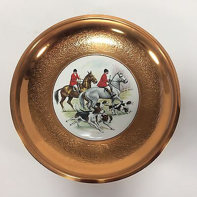 Copper Plate Ceramic Center The Hunt Horses and Dogs Made in England VTG S Decor