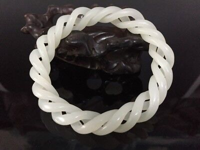 Chinese White Jade Bangle Bracelet