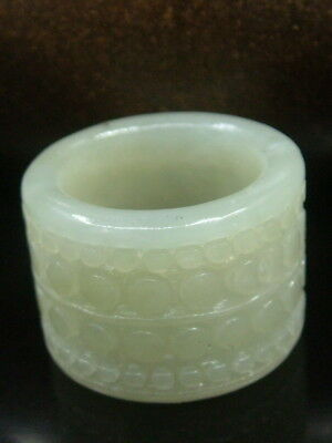 """Antique Chinese Nephrite Celadon Jade Archer's Thumb Rings """"DRAGON""""2981"""