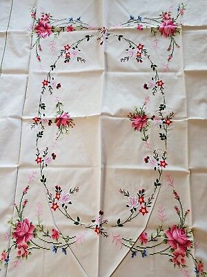 Vintage Orem Cream Needle Point Hand Made TableCloth Never Used Lots of Roses