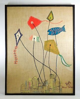 Hanna Silver (Germany/usa) Vintage Framed Textile Applique Art Cityscape W/kites
