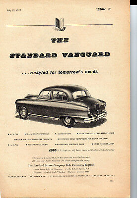1953 Standard Vanguard Phase II Sedan Original Black & White Advertisement