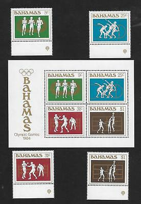 "1984 Bahamas "" Olympic Games ""~ Mini Sheet And Set Of 4 ~ Mint Un Hinged"