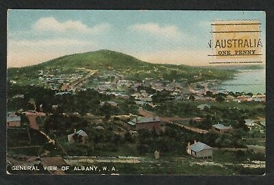 e380)   EARLY WESTERN AUSTRALIA POSTCARD:  GENERAL VIEW OF ALBANY  (Nice Cancel)