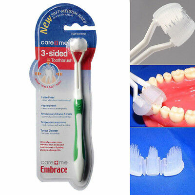 UK 3-Sided Toothbrush for Special Needs Easier Oral Cleaner Gum Care Useful