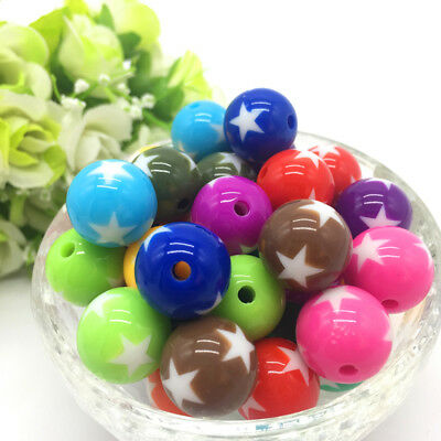 10Pcs stars Acrylic Round Pearl Spacer Loose Beads Jewelry Making Mixing