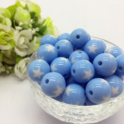 10Pcs stars Acrylic Round Pearl Spacer Loose Beads Jewelry Making Light Blue