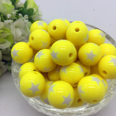 10Pcs stars Acrylic Round Pearl Spacer Loose Beads Jewelry Making Yellow