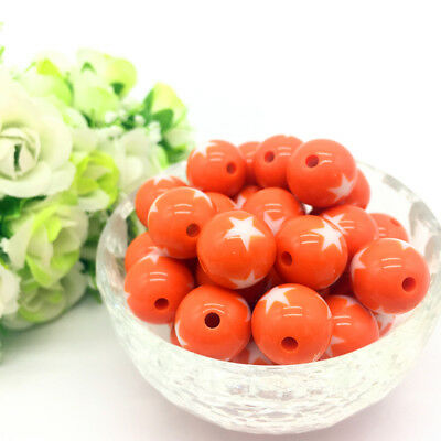 10Pcs stars Acrylic Round Pearl Spacer Loose Beads Jewelry Making Orange