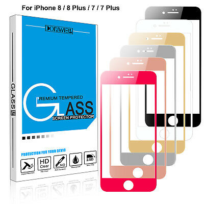 For iPhone 7/ 8 / 8 Plus 3D Full Cover Real Tempered Glass Screen Protector Film
