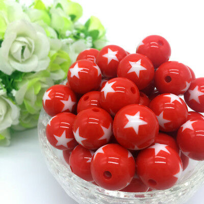 10Pcs stars Acrylic Round Pearl Spacer Loose Beads Jewelry Making Red