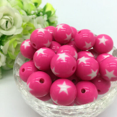 10Pcs stars Acrylic Round Pearl Spacer Loose Beads Jewelry Making Rose