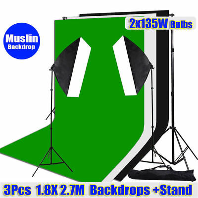 1350W Photo Studio Softbox Continuous Lighting 3pcs Muslin Backdrops Stand Kit