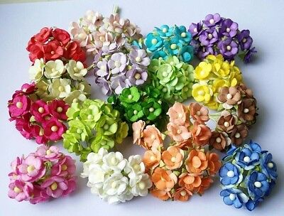 2 Layer Flower Mulberry paper Scrapbooking card Crafts Handmade DIY 1.5 cm.10pcs