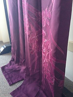 Vintage Purple Floral Silk Japanese Hand Made Embroidered Kimono Robe Costume