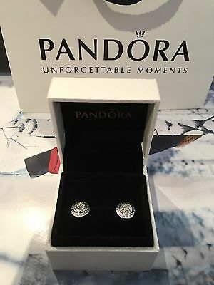 New Genuine Pandora Stud Silver Pave Earrings with Pouch  #290559CZ RRP£55