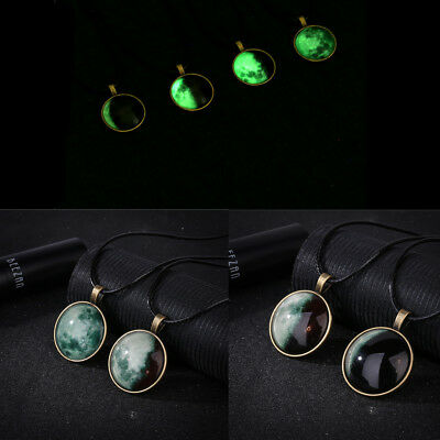 Crescent Full Moon Glow in the dark Necklace Cabochon Glass Pendant Luminous