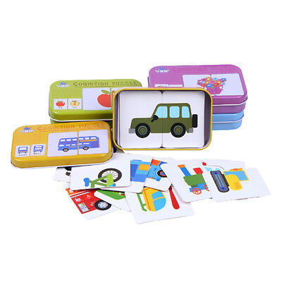Child Learn English Match Puzzle Cartoon Montessori Cognitive Card Education Toy