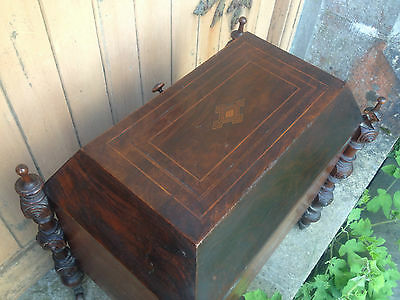 Antique Early 19th Century Inlaid Mahogany Sarcophagus Shaped Wine Cellarette