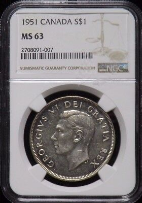1951 Canada UNC Silver Dollar Certified NGC MS 63