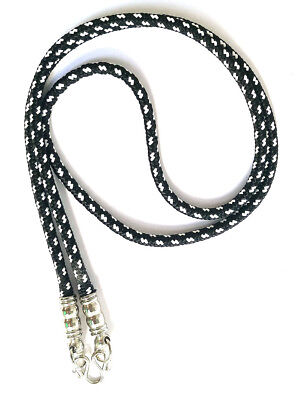 24 in. THAI AMULET BLACK & WHITE STRIPED ROPE NECKLACE STRING STAINLESS HOOK END