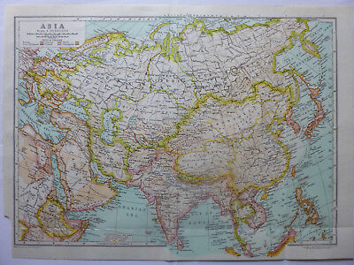 Vintage Map of Asia 1926 - Coloured Map - Excellent Condition - Great to Frame