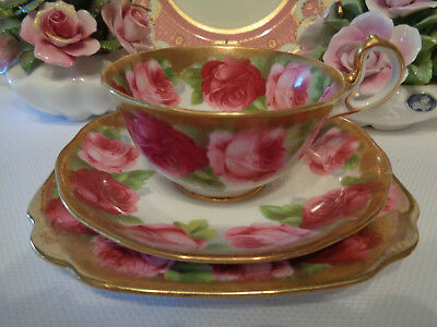 Royal Albert Crown China Trio **Old English Rose** Heavily Gilded - Great Cond.